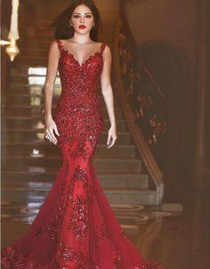 Dark Red Luxury Formal Mermaid Prom Dresses Evening