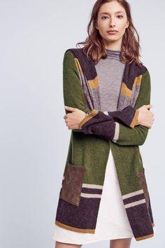 Mixed-Stripe Wool Cardigan
