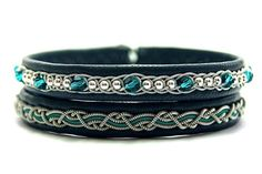 Set of Sami leather bracelets Swarovski wrap от ScandicraftRU  #handmade #etsy #Swarovski #pewter #leather #silver #blue #black #jewelry #Sami #saami #scandinavian #viking #celtic #wrapped #wirewrap #handcrafted #gift