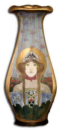 Art Nouveau ivory porcelain vase from the portrait series Allegory of Russia, designed by Nikolaus Kannhauser for Amphora