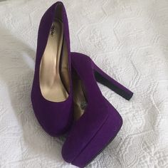 Purple Pumps - worn 1 time! Purple Pumps, rounded toe, worn only one time Mossimo Supply Co Shoes Heels