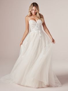 Rebecca Ingram - MARISOL, A quick lesson in modern fairytale-ing: a princess gown need not weigh a ton to feel like magic. Consider this romantic A-line wedding dress in soft shimmer and lightweight lace.