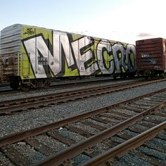 Mecro Whole Car – read more @ http://www.juxtapoz.com/Graffiti/mecro-whole-car# – #graffiti #mecro #train
