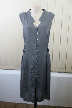 Size L / 14 Banana Blue Ladies Linen Tunic Loose Fit Boho Resort Casual Design