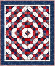 Fourth of July pattern with 4 patch blocks & corner blocks -- would be great as a scrap quilt! From Quiltville Quips & Snips