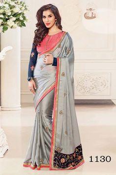 Grey Satin Latest Designer Saree
