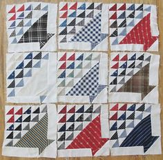 9 GORGEOUS c1880 Antique Basket QUILT BLOCKS Primitive Farmhouse Turkey Red, eBay, vintageblessings