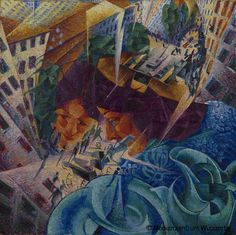 Simultaneous Visions by Italian artist Umberto Boccioni This was painted in Milan, but is now held at the Von der Heydt Museum in Wuppertal, Germany. Italian Painters, Italian Artist, Futurist Painting, Umberto Boccioni, Italian Futurism, Dynamic Painting, Modern Art, Contemporary Art, Futurism Art