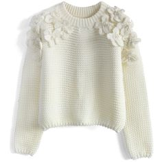 Chicwish My Flowers and Pearls Sweater in White found on Polyvore featuring tops, sweaters, pink, flower sweater, pink sweater, pink top, embellished sweater and white sweater