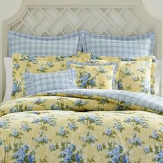 Cassidy Cotton Reversible Comforter Set by Laura Ashley Home - Rose's Bedroom Redo - Bedding Master Bedroom Twin Comforter Sets, Bedding Sets, Yellow Bedding, King Comforter, Yellow Comforter, Floral Bedding, Console, Laura Ashley Home, Laura Ashley Bedroom