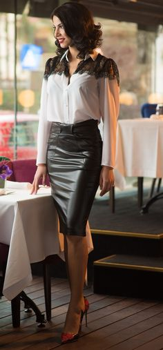 Black shiny skirt