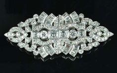 An art deco diamond double-clip brooch, circa 1930