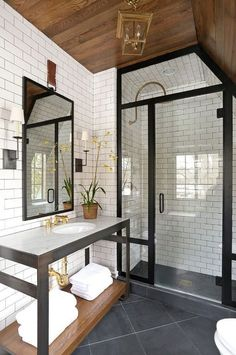 Contemporary 3/4 Bathroom with Console Sink, High ceiling, BelTile White Subway Tile 3x6 Glossy, slate tile floors