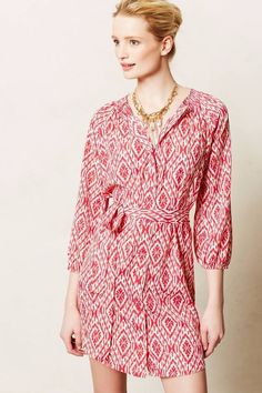MAEVE ANTHROPOLOGIE IKAT BUTTON DOWN BELTED KNEE LENGTH DRESS PINK 3/4 SLEEVE S #Maeve #ShirtDress #Casual