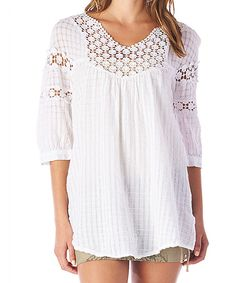 Love this Off-White Three-Quarter-Sleeve Top by MONORENO by Mür on #zulily! #zulilyfinds