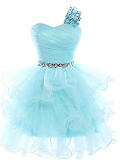 prom dresses short,Blue A-line One Shoulder Short Mini