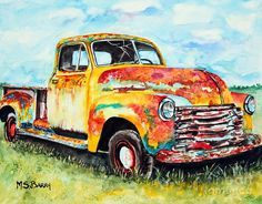 Old Truck Painting - Rusty Old Truck by Maria Barry