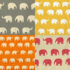 Japanese Cotton Fabric - Elephants - Gray, Yellow, Orange Pink - Yard Each - One Yard Total