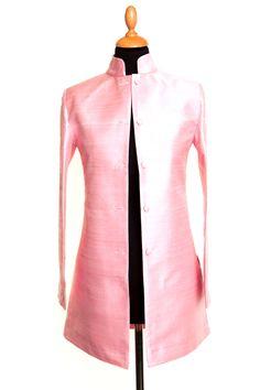Silk Long Nehru Jacket in Pink Sugar - £265 #silk #jacket #fashion #women #shibumi