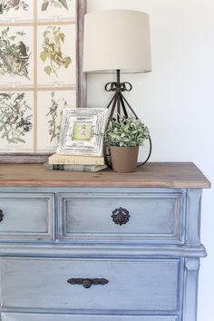 natural shade variations in the wood and adds just a hint of gray. It's Grey Bedroom Furniture, Bedroom Furniture Makeover, Blue Furniture, Refurbished Furniture, Farmhouse Furniture, Paint Furniture, Repurposed Furniture, Furniture Stores, Orange Painted Furniture