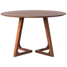 Moe's Home Collection Godenza Dining Table Round Walnut Brown By ($1,221) ❤ liked on Polyvore featuring home, furniture, tables, dining tables, kitchen & dining room tables, walnut table, compact dining table, circular table, round walnut table and brown table