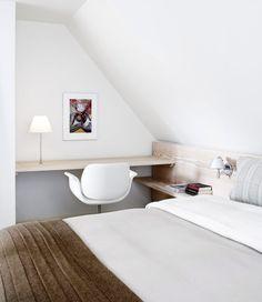 bedside table and desk