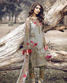 Grey Georgette Suit with Dupatta - Pakistani Fashion Pakistani Fashion Casual, Pakistani Wedding Outfits, Pakistani Dresses Casual, Pakistani Dress Design, Indian Dresses, Indian Outfits, Indian Fashion, Indian Designer Outfits, Designer Dresses