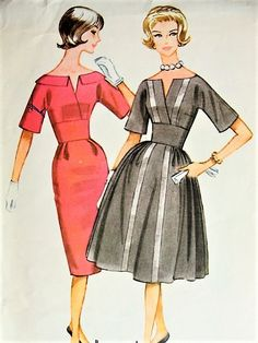 1960s CLASSY Midriff Dress Pattern McCALLS 5658 Low Surplice Neckline Slim or Full Skirt Cocktail Party Dress Bust 31 Vintage Sewing Pattern FACTORY FOLDED