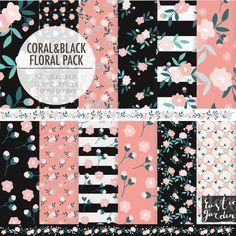 Autumn fall CORAL BLACK digital paper. by RusticDigitalPaper