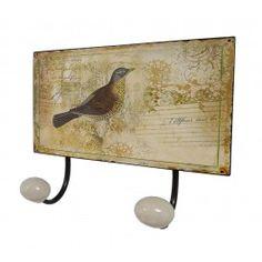 Patère Double Murale Motif Oiseau