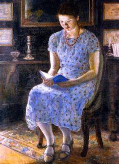 'Blue Girl Reading' by Frederick Frieseke. (1874-1939 American )