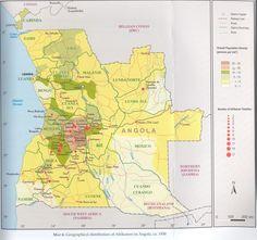 Distribution of Dorsland Boere in Angola Belgian Congo, Folk Music, Historical Maps, Atlantic Ocean, Portuguese, Archaeology, Astronomy, Africa, Chart