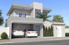 Planta de casa moderna con 3 dormitorios