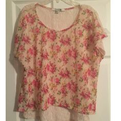 Floral & Lace Top Loose fit floral top in pink, green and cream. The back is sheer lace, size large. Good condition Forever 21 Tops