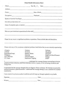 Chi Client Information Form Mage Intake Forms Business Alternative Therapies Techniques