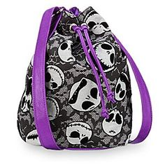 Tote along your all-Hallowed essentials in this Jack Skellington cinch top tote featuring faux leather straps and flocked line art on a canvas bag. Fully lined for fashion and functionality. Jack The Pumpkin King, Nightmare Before Christmas Halloween, Disney Purse, Tote Backpack, Hipster Backpack, Tote Bag, Disney Merchandise, Knitted Bags, Crochet Bags