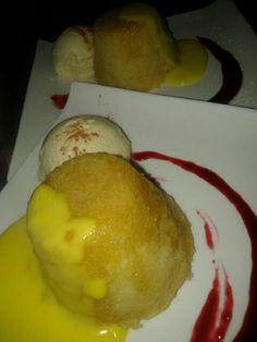 Steamed sponge pudding with homemade vanilla custard.