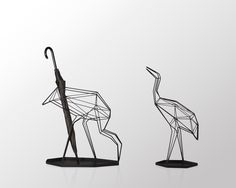 Crane_umbrella stand   Made out of twisted wire, the crane interlaces into a visual compound of the virtual and real.Its life-like silhouette creates different looks depending on where you are standing.   -  Archello