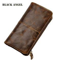 Classical vintage style men wallets cowhide genuine leather wallet fashion men card holder purse removable zipper pocket clutch