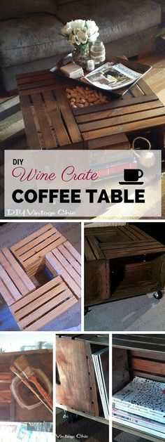 Diy Furniture : Check out the tutorial: #DIY Wine Crate Coffee Table #rustic #crafts #homedecor