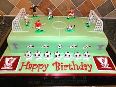 a joint birthday — one side of the cake for the Liverpool fan. Football Pitch Cake, Football Cakes For Boys, Football Birthday Cake, 7th Birthday Cakes, Liverpool Cake, Soccer Ball Cake, Creative Cakes, Celebration Cakes, Party Cakes