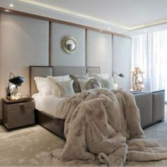 Luxurious Fur blanket, furs, winter wonderland, bedroom colors, master bedrooms, hous, modern bedroom, sweet dreams, cozy beds