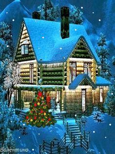Holiday Home - Desktop Nexus Wallpapers Christmas Log, Christmas Scenes, Magical Christmas, Merry Christmas And Happy New Year, Christmas Images, Beautiful Christmas, Vintage Christmas, Christmas Holidays, Blue Christmas