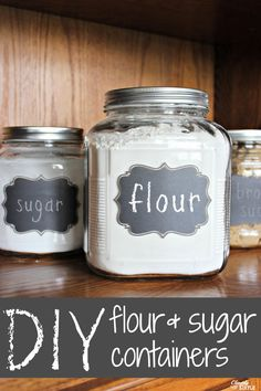 Create your own DIY flour and sugar containers using glass jars and chalkboard stickers.  These will cost you far less than if you buy them complete in store!