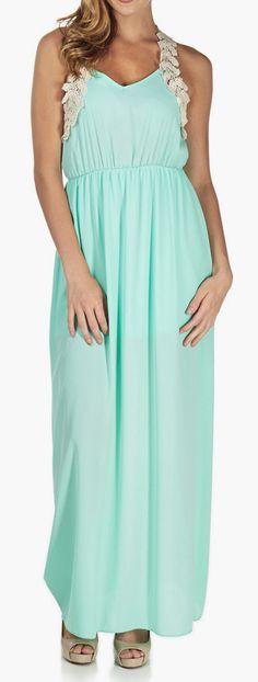 Mint Green Chiffon Crochet Maxi Dress