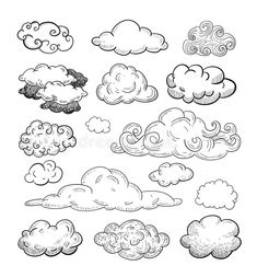 Download Doodle Collection Of Hand Drawn Vector Clouds. Stock Vector - Image: 52718722