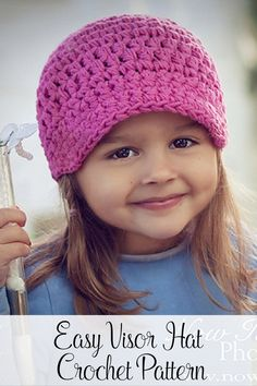 Crochet Pattern - This easy crochet visor hat pattern makes a quick and fun project. It's made with a chunky yarn so it'll be crocheted and ready to wear in no time! Includes directions for all sizes from baby to adults. By Posh Patterns.