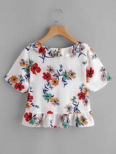Shop Flower Print Frill Collar And Hem Top at ROMWE, discover more fashion styles online. Hijab Fashion, Fashion Dresses, Frill Blouse, Western Tops, Cute Tops, Blouse Designs, Blouses For Women, Cute Outfits, Skinny