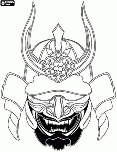 Japanese Samurai Warrior Mask | Samurai coloring pages, coloring pages of Samurai , printable Samurai ...