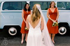 Red bridesmaids dresses Lachlan Burrell Photography
